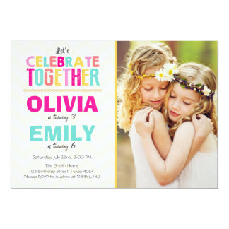 Joint twin birthday party invitation Girls Pink