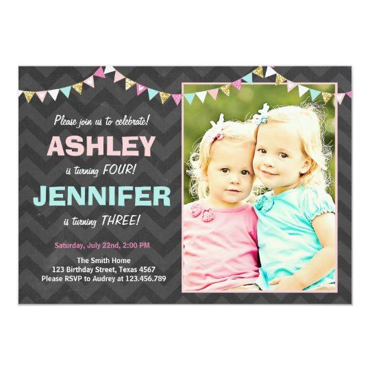 Joint Twin Birthday Party Invitation Twins Dual Zazzle Co Uk
