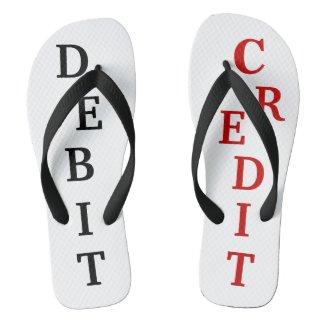 Joke Debit Credit Bookkeeping Accountant Gift Idea Flip Flops