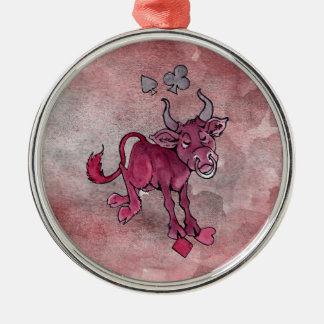 Joker Bull Silver-Colored Round Decoration