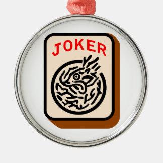 Joker Silver-Colored Round Decoration
