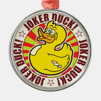 Joker Duck Silver-Colored Round Decoration