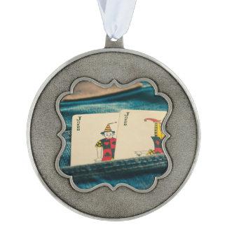 joker scalloped pewter ornament