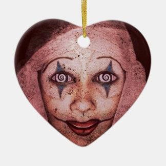 Joker Raggedy-Ann Clown With Swirly Eyes Ceramic Heart Decoration