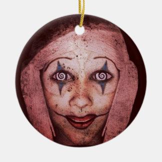 Joker Raggedy-Ann Clown With Swirly Eyes Round Ceramic Decoration
