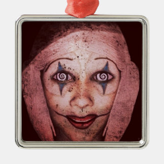 Joker Raggedy-Ann Clown With Swirly Eyes Silver-Colored Square Decoration