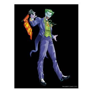 Joker stands with gun postcard