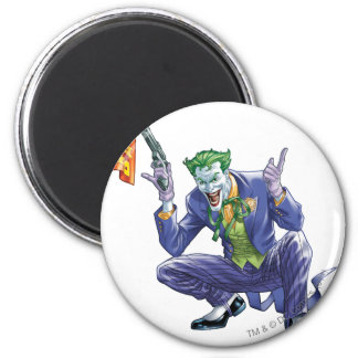 Joker with fake gun 6 cm round magnet