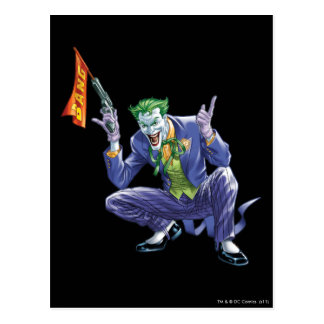 Joker with fake gun postcard