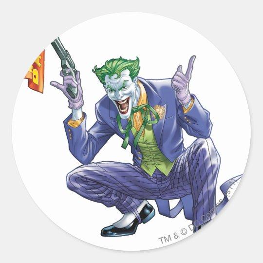 Joker with fake gun round sticker