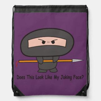 """Joking Face"" Stringbag- A Nawty Ninja Design Drawstring Bag"