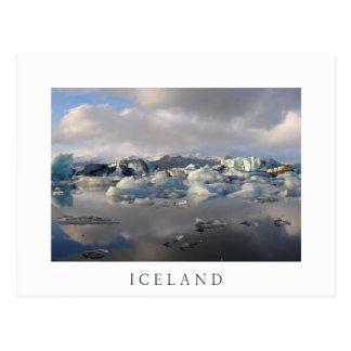 Jokulsarlon glacier lake, Iceland white postcard