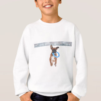Jolie playing frizbee in the snow sweatshirt