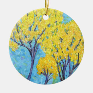 Jolie's yellow Tree Round Ceramic Decoration