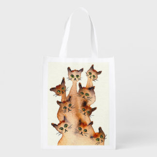 Joliet Whimsical Cats Reusable Grocery Bag