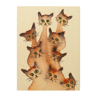 Joliet Whimsical Cats Wood Wall Decor