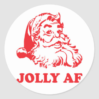 Jolly AF - funny santa christmas Classic Round Sticker
