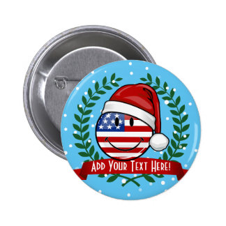 Jolly American Flag Christmas Style 6 Cm Round Badge