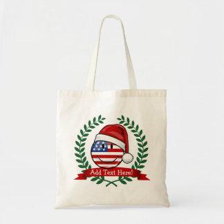 Jolly American Flag Christmas Style Budget Tote Bag