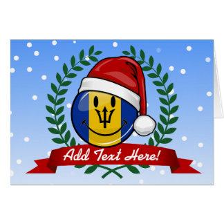 Jolly Barbados Flag Christmas Style Card