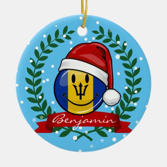 Jolly Barbados Flag Christmas Style Christmas Ornament
