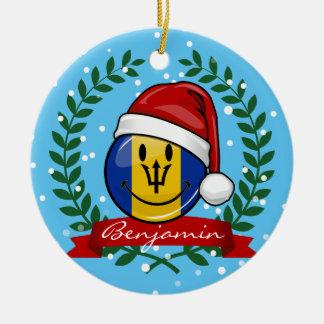 Jolly Barbados Flag Christmas Style Round Ceramic Decoration