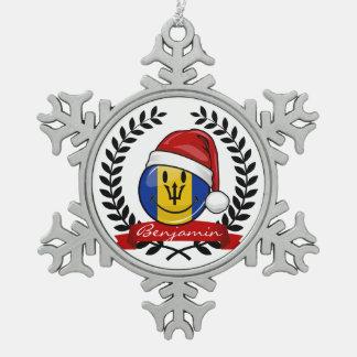 Jolly Barbados Flag Christmas Style Snowflake Pewter Christmas Ornament
