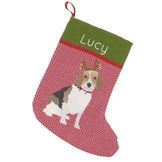 Jolly Beagle Personalized Small Christmas Stocking