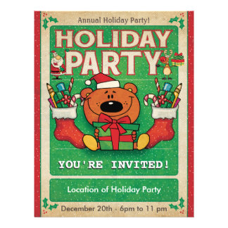 Jolly Bear Holiday Party 21.5 Cm X 28 Cm Flyer