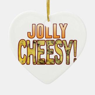 Jolly Blue Cheesy Ceramic Heart Decoration