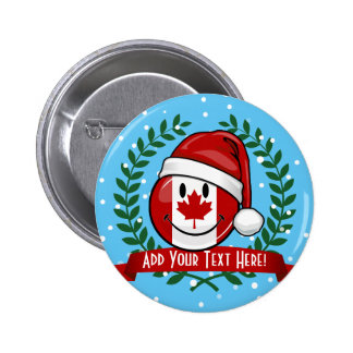 Jolly Canadian Flag Christmas Style 6 Cm Round Badge