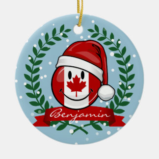 Jolly Canadian Flag Christmas Style Christmas Ornament