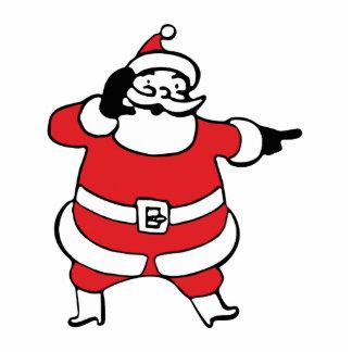 Jolly Cartoon Santa Claus Calling His Reindeer Photo Sculpture Decoration