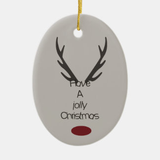 Jolly Christmas Antlers Ceramic Oval Decoration