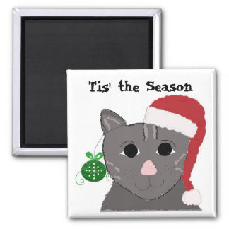Jolly Christmas Cat Square Magnet