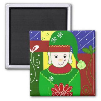 Jolly Christmas Elf Square Magnet
