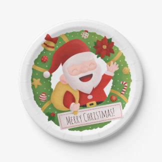 Jolly Cute Santa Claus Xmas Wreath Party Supplies Paper Plate