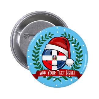 Jolly Dominican Republic Flag Christmas 6 Cm Round Badge