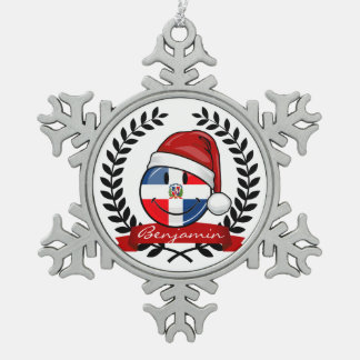 Jolly Dominican Republic Flag Christmas Pewter Snowflake Decoration