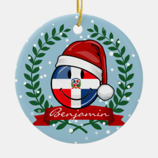 Jolly Dominican Republic Flag Christmas Round Ceramic Decoration