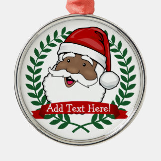 Jolly Ethnic Santa Custom Text Christmas Silver-Colored Round Decoration