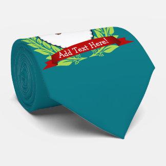 Jolly Ethnic Santa Custom Text Jade Tie