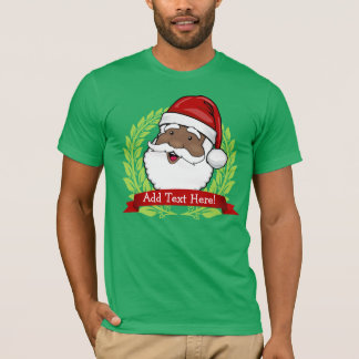Jolly Ethnic Santa Custom Text T-Shirt