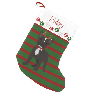 Jolly French Bulldog Black And White Small Christmas Stocking