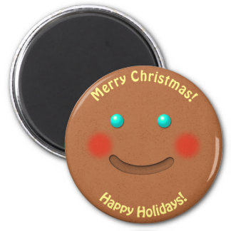 Jolly Gingerbread Cookie 6 Cm Round Magnet