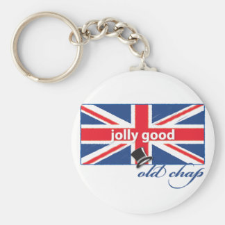 Jolly good old chap! basic round button key ring