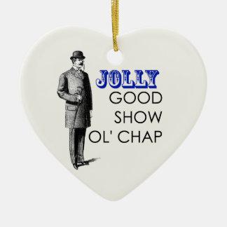 Jolly good show ol'chap ceramic heart decoration