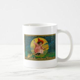 Jolly Halloween Vintage Witch Basic White Mug