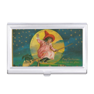 Jolly Halloween Vintage Witch Business Card Holder
