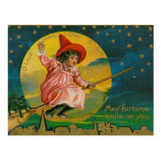 Jolly Halloween Vintage Witch Postcard